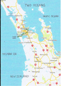 Map of Stuart Murray's New Zealand Crossing