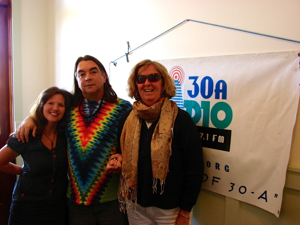 Claire Bannerman at the 30A Radio Studio with John Rosenberg and Jennifer Steele