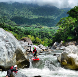 Ken Hoeve SUPing the Rio Cangrejal, Honduras