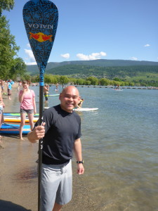 Neal Gregory practicing paddles up- Standing Up for the Planet-SUP Radio